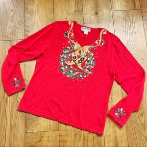 Vintage Christmas Sweater Western Boots Jeweled